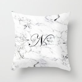 Letter N on Marble texture Initial personalized monogram Throw Pillow