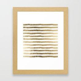 White faux gold elegant modern striped pattern Framed Art Print