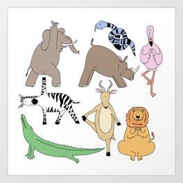 safari animal yoga Art Print