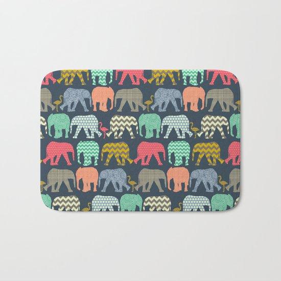 baby elephants and flamingos Bath Mat