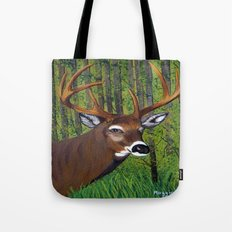 Buck by the forest Tote Bag