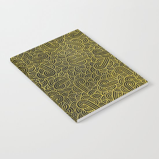 Black and faux gold swirls doodles Notebook