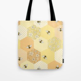 Patchwork Bees Pattern Tote Bag