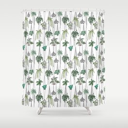 hanging pots pattern Shower Curtain