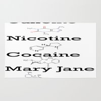 cocaine Area & Throw Rugs featuring Caffeine, Nicotine, Cocaine, Mary Jane by MMHDesigns