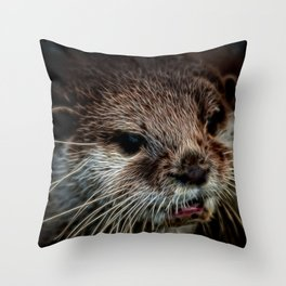 Otters Sweet Face Throw Pillow
