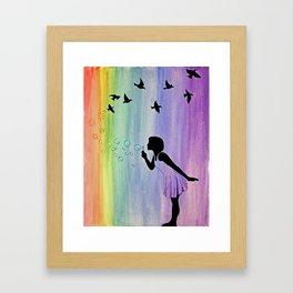 Rainbow Bubbles & Birds in the Wind Framed Art Print