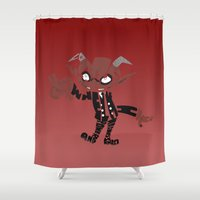 soul eater Shower Curtains featuring little demon soul eater by Rebecca McGoran