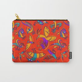 Pattern with Firebirds (on red background) Carry-All Pouch