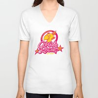 racing V-neck T-shirts featuring Chocobo Racing by Faniseto