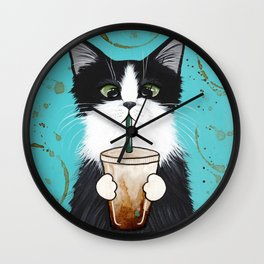 Tuxedo Cat With Iced Coffee Wall Clock