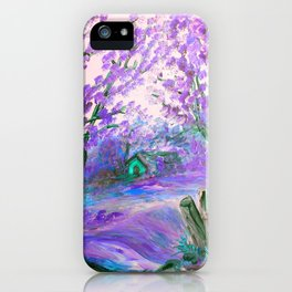 Purple Abstract Landscape with Trees iPhone Case