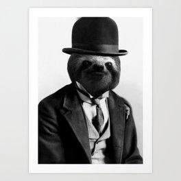 Sloth with Bowl Hat Art Print