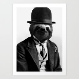 Sloth with Bowl Hat Art Print