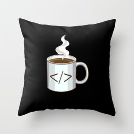 Programmer's Coffee Cup Throw Pillow