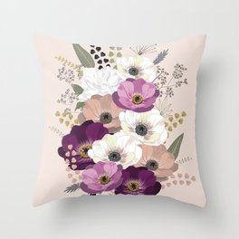 Anemones & Gardenia floral bouquet Throw Pillow