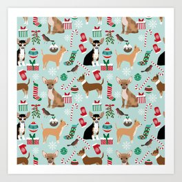 Chihuahua christmas best gifts for chihuahua owners dog pet portraits pet friendly Art Print