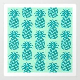 Retro Mid Century Modern Pineapple Pattern Mint Green and Teal Art Print