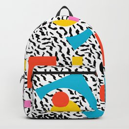 Get Real - memphis abstract pattern retro 80s design minimalist gifts colorful 1980's trend Backpack