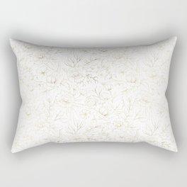 Elegant simple modern faux gold white floral Rectangular Pillow