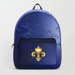Gold Fleur De Lis on a Blue Background Backpack