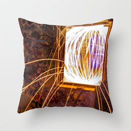 Graff Bomb - Light Painting in Abandoned Ruins Throw Pillow