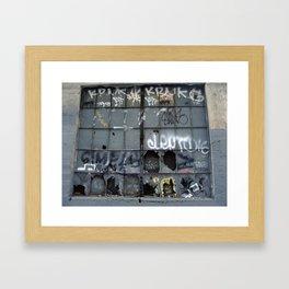 Seattle warehouse window Framed Art Print