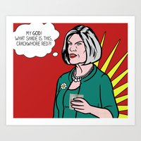 lichtenstein Art Prints featuring Malory Archer Lichtenstein by turantuluy
