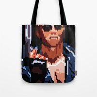 terminator Tote Bags featuring Terminator Pixelated by Escobarr