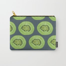 Kiwi pattern home decor interior design minimal cement polka dots graphite gray Carry-All Pouch
