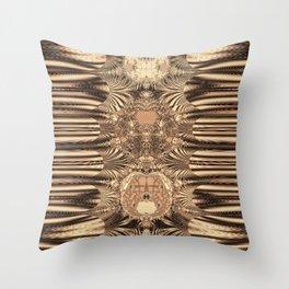 SepiaGold Fractal Throw Pillow