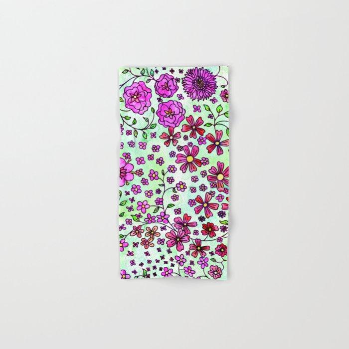 Pink Small Flowers Hand & Bath Towel