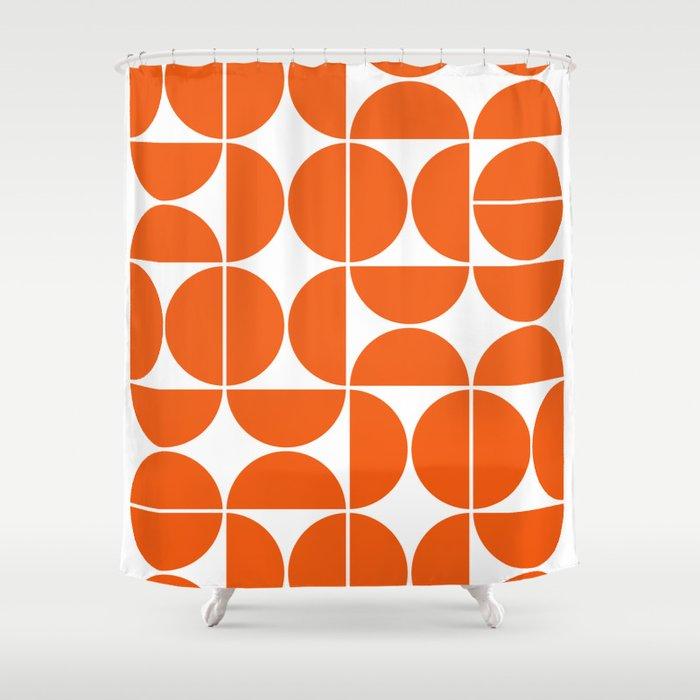 Mid Century Modern Geometric 04 Orange Duschvorhang