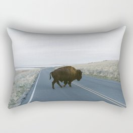American Bison in The Road Rectangular Pillow