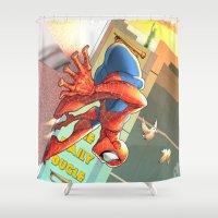 spider man Shower Curtains featuring Spider Man by Brian Hollins art