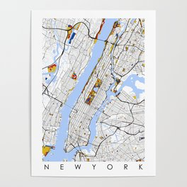 New York City Map United States Mondrian color Poster