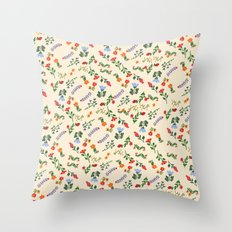 Bright Vintage Flower Pattern Throw Pillow
