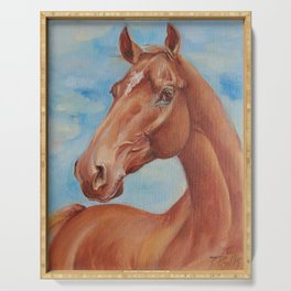 Brown Horse portrait English thoroughbred horse painting Serving Tray