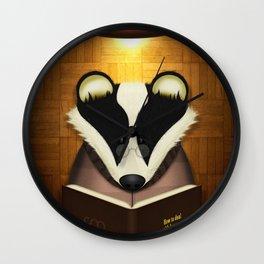 Badger Reading Wall Clock