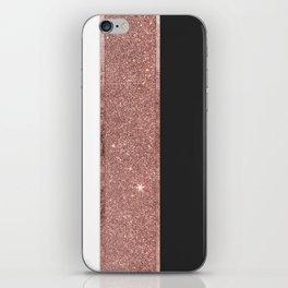 Modern Rose Gold Glitter Black White Color Blocks iPhone Skin