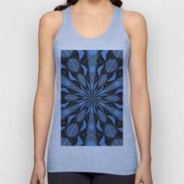 Blue Steel and Black Fragmented Kaleidoscope Unisex Tank Top