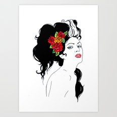 Girl with Roses Art Print