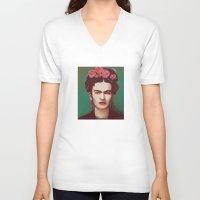 frida V-neck T-shirts featuring Frida by ravynka