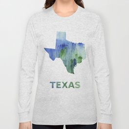 Texas map outline Blue-green watercolor painting Long Sleeve T-shirt
