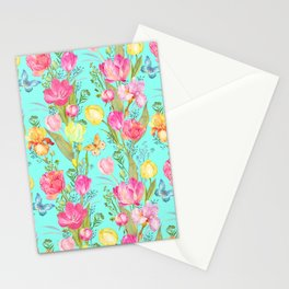 Tulips, Irises, and Butterflies Floral Pattern On Aqua Stationery Cards