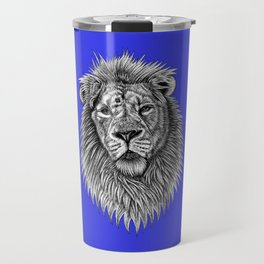 Asiatic lion - big cat - ink illustration - blue Travel Mug