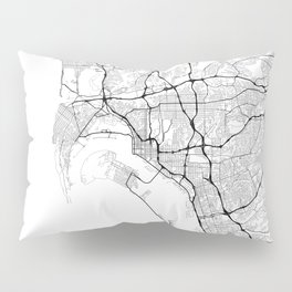 Minimal City Maps - Map Of San Diego, California, United States Pillow Sham
