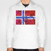norway Hoodies featuring circuit board Norway (Flag) by seb mcnulty