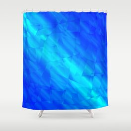 Glowing metallic blue fragments of yellow crystals on irregularly shaped triangles. Shower Curtain
