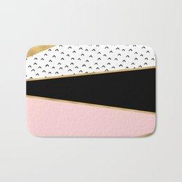 Pink & Gold Geometric Triangle Pattern Bath Mat